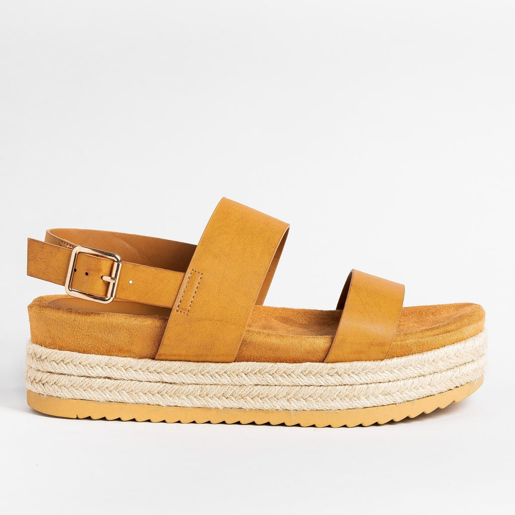 Womens Double Strap Flatform Sandals - Bamboo Shoes - Tan / 5