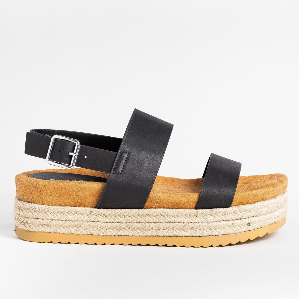 Womens Double Strap Flatform Sandals - Bamboo Shoes - Black / 5
