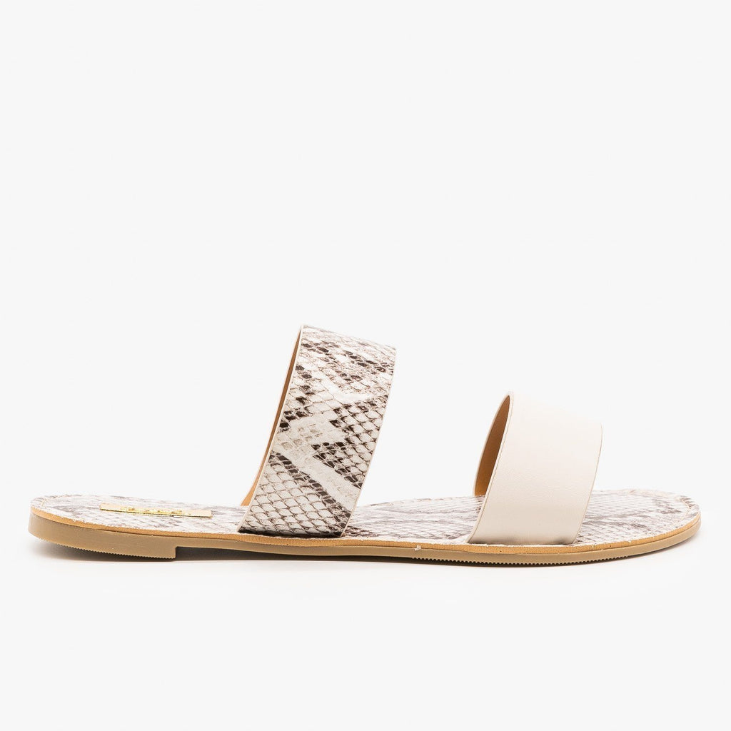 Womens Double Strap Patterned Sandals - Qupid Shoes - Off White / 5