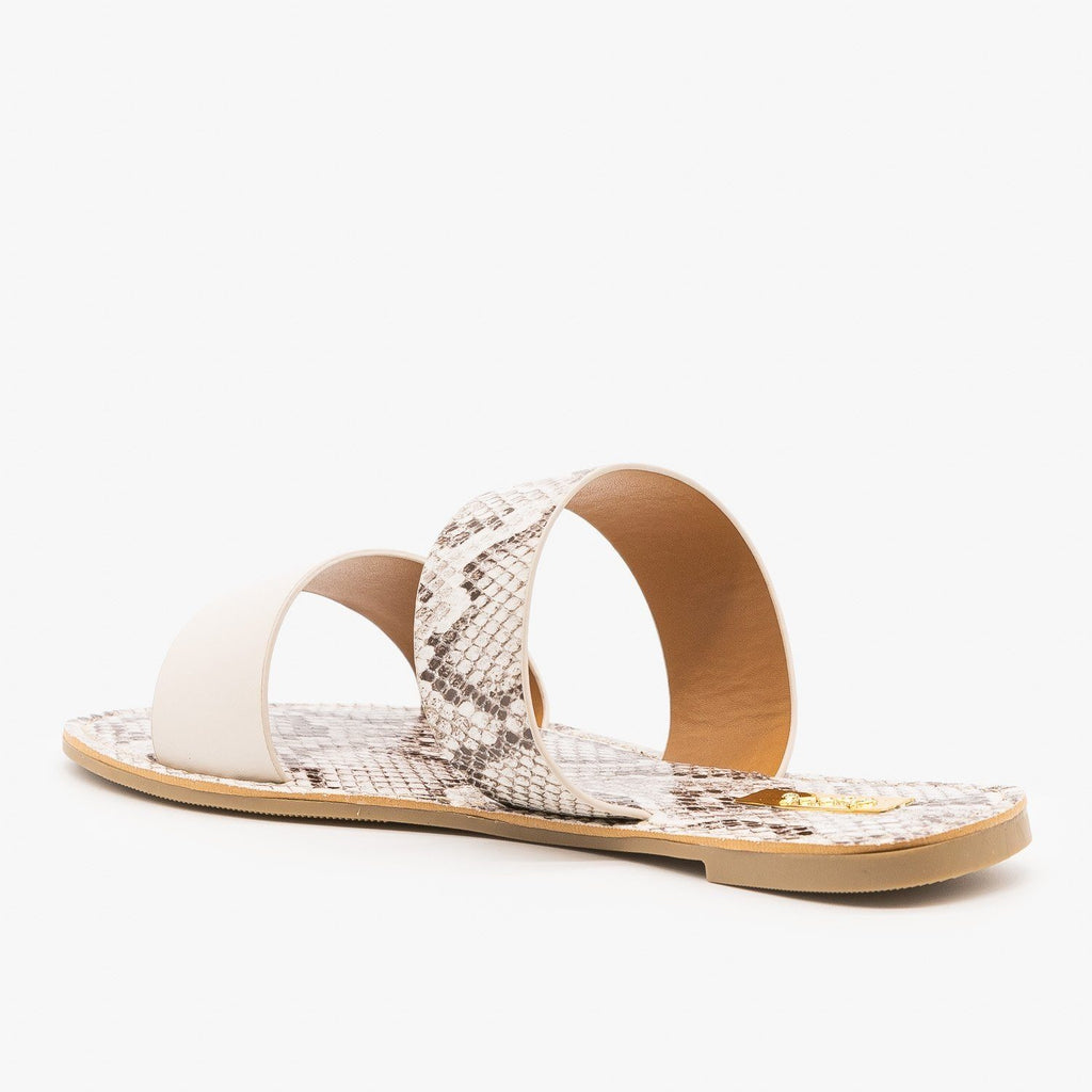 Womens Double Strap Patterned Sandals - Qupid Shoes