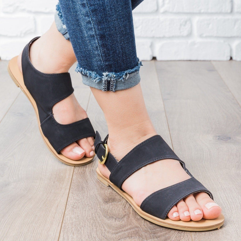 Womens Double Strap Slingback Sandals - Qupid Shoes