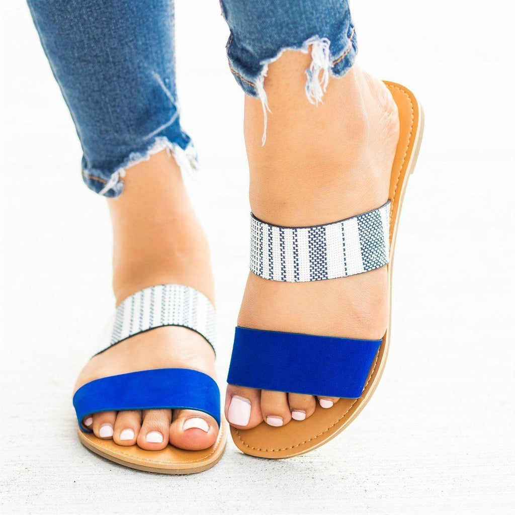 Womens Double Strap Slip-On Sandals - Qupid Shoes