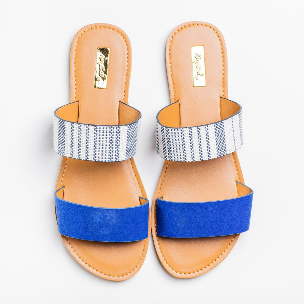 Womens Double Strap Slip-On Sandals - Qupid Shoes - Blue / 5