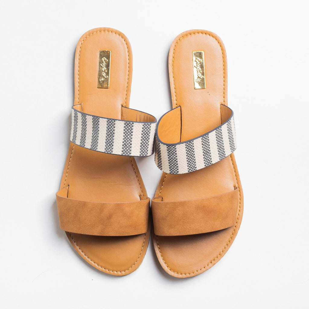 Womens Double Strap Slip-On Sandals - Qupid Shoes - Camel / 5