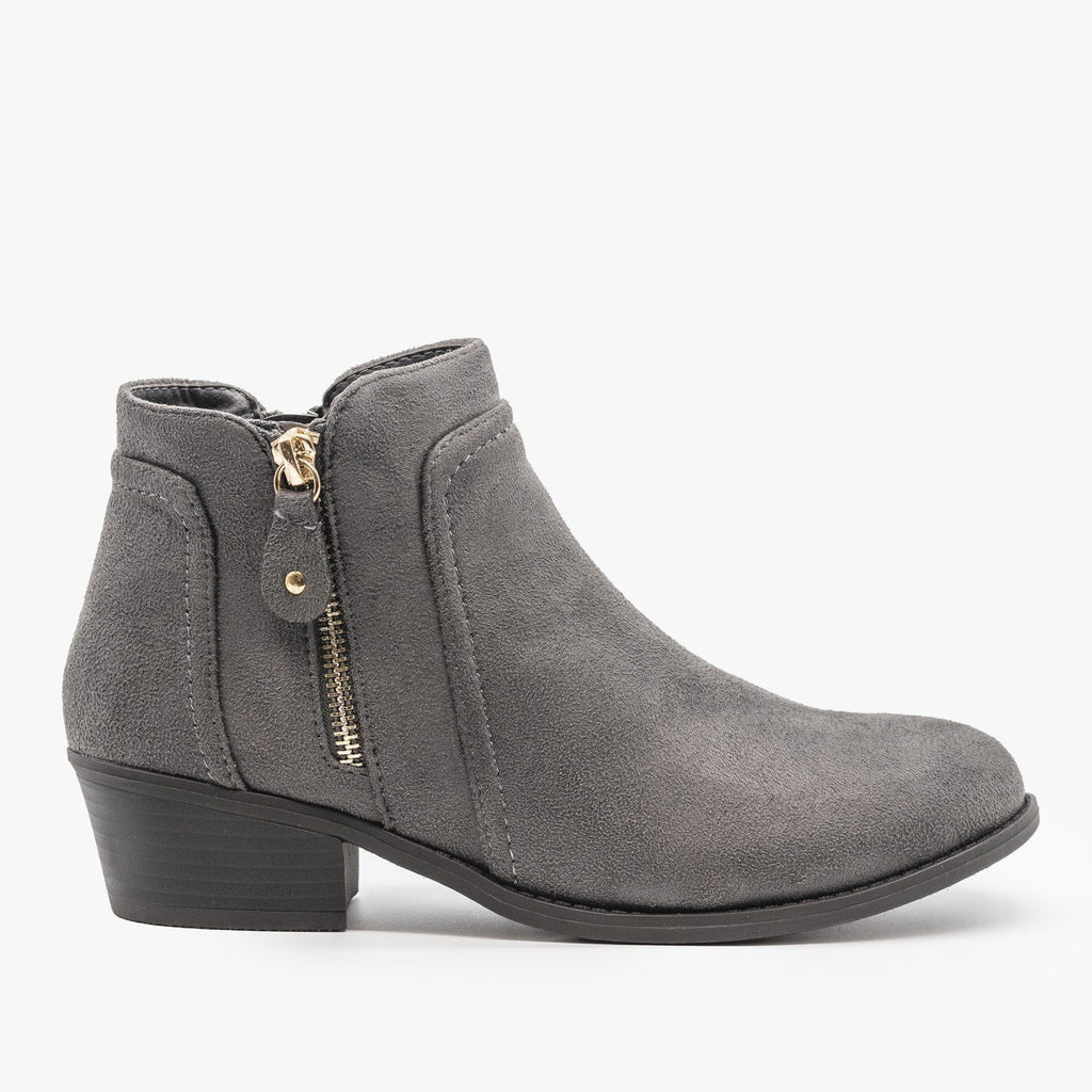 Womens Double Zipper Ankle Boots - Refresh - Charcoal / 5