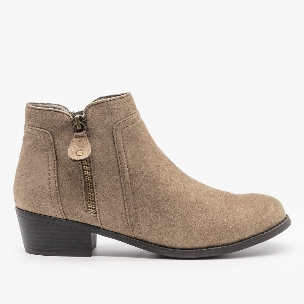 Womens Double Zipper Ankle Boots - Refresh - Taupe / 5