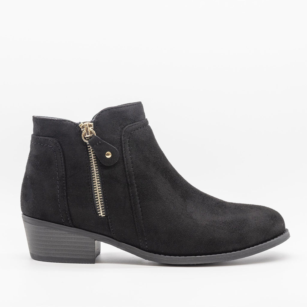 Womens Double Zipper Ankle Boots - Refresh - Black / 5