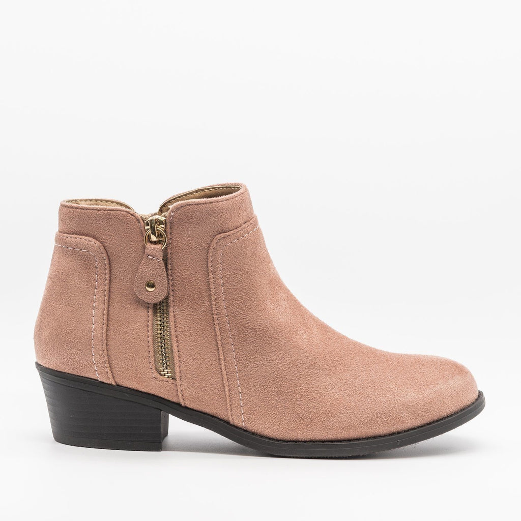 Womens Double Zipper Ankle Boots - Refresh - Mauve / 5