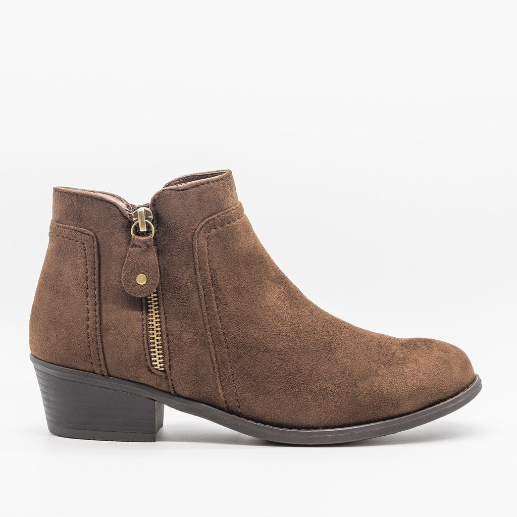 Womens Double Zipper Ankle Boots - Refresh - Brown / 5