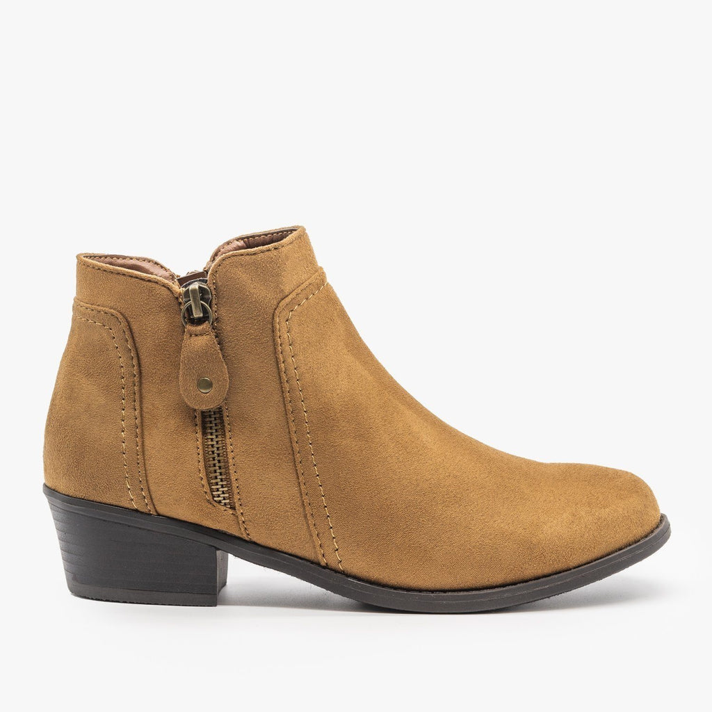 Womens Double Zipper Ankle Boots - Refresh - Tan / 5