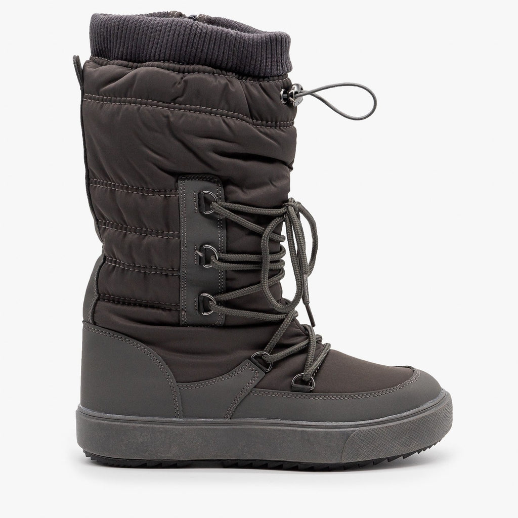 Womens Drawstring Top Snow Boots - Refresh - Gray / 5