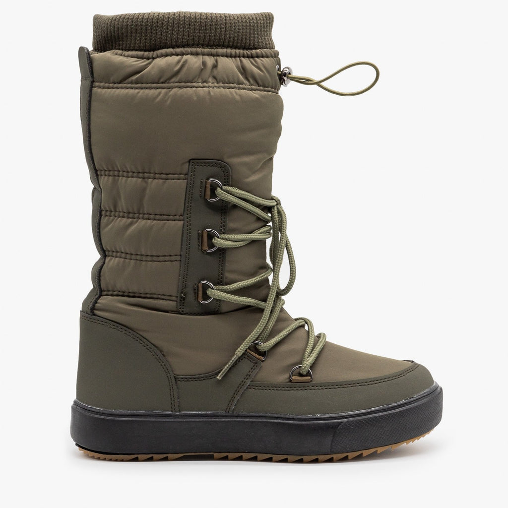 Womens Drawstring Top Snow Boots - Refresh - Olive / 5