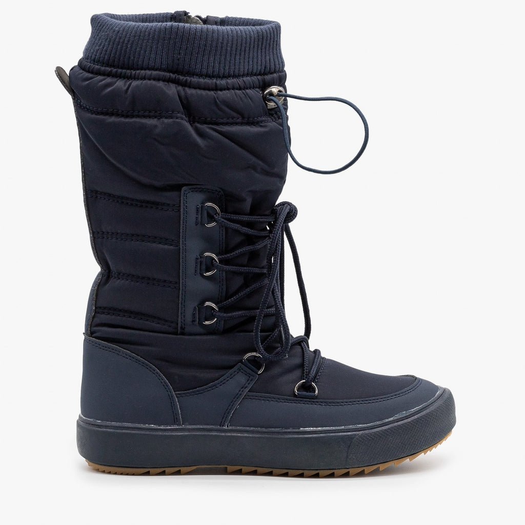 Womens Drawstring Top Snow Boots - Refresh - Navy / 5