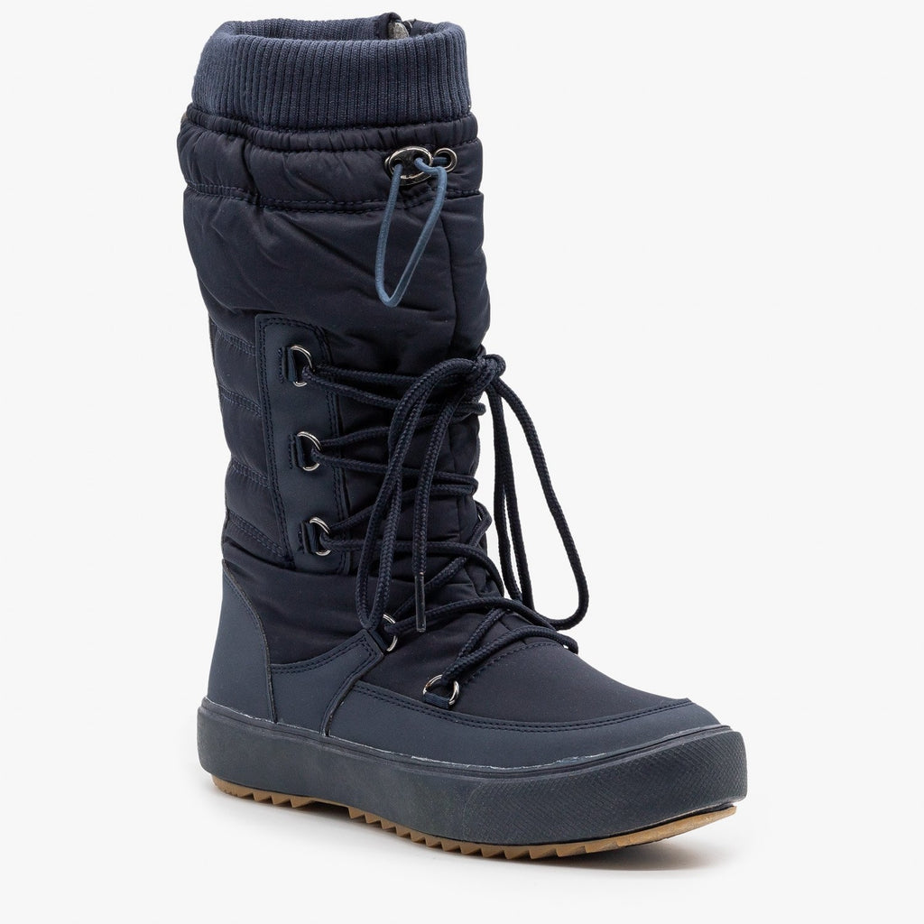 Womens Drawstring Top Snow Boots - Refresh
