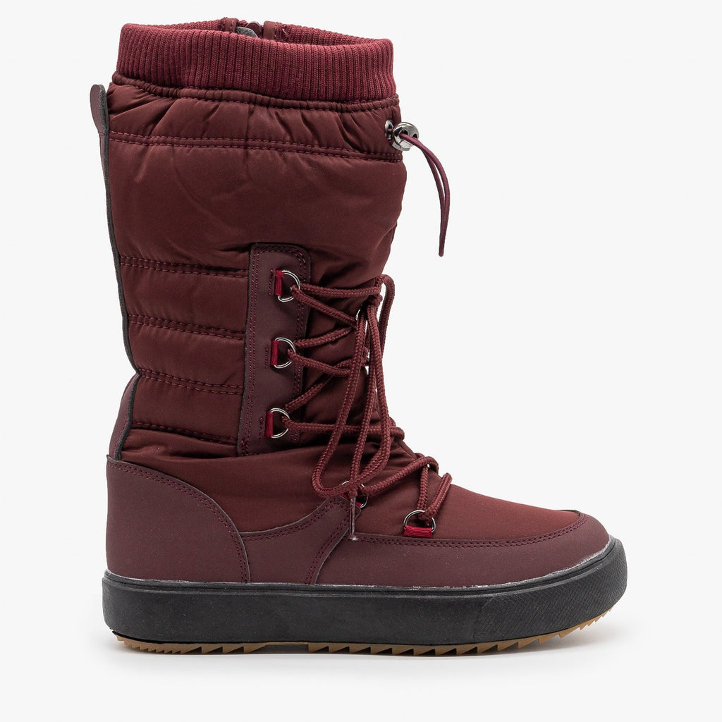 Womens Drawstring Top Snow Boots - Refresh - Wine / 5