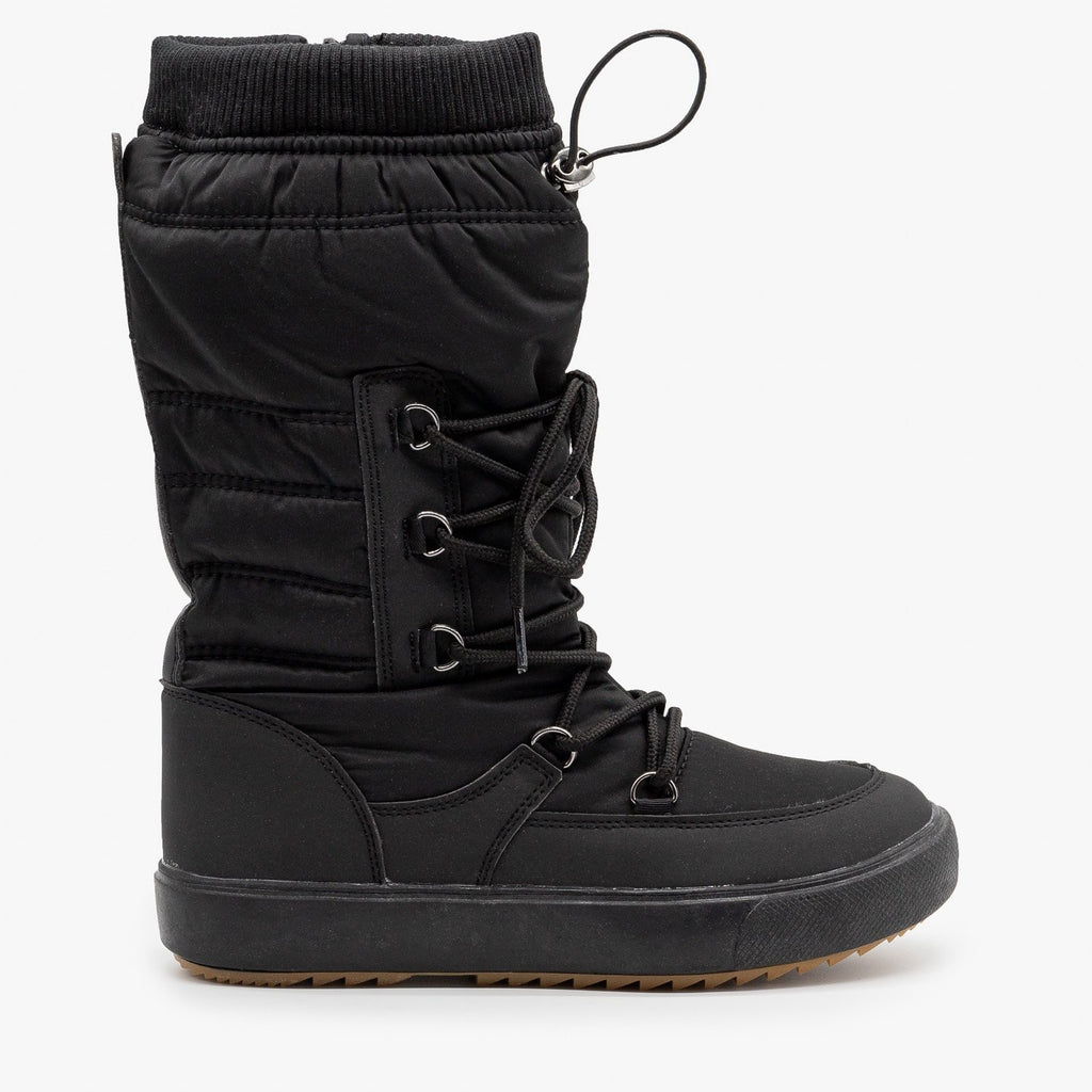 Womens Drawstring Top Snow Boots - Refresh - Black / 5