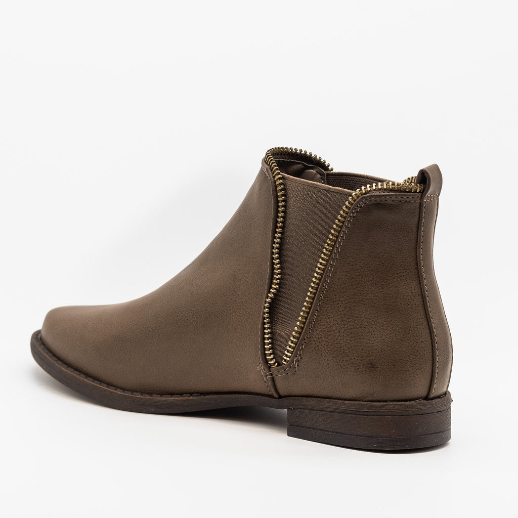 Womens Edgy and Chic Zippered Booties - Bamboo Shoes