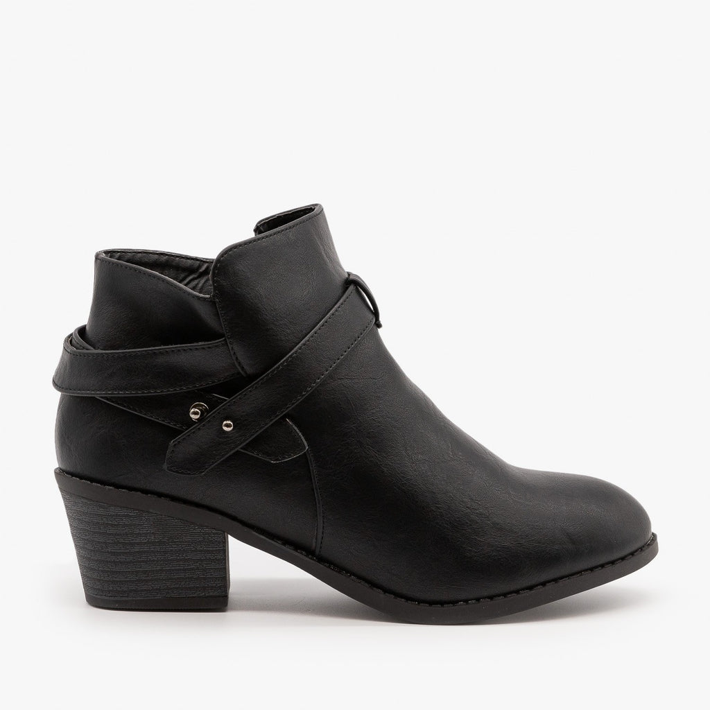 Womens Edgy Belted Ankle Booties - Forever - Black / 5
