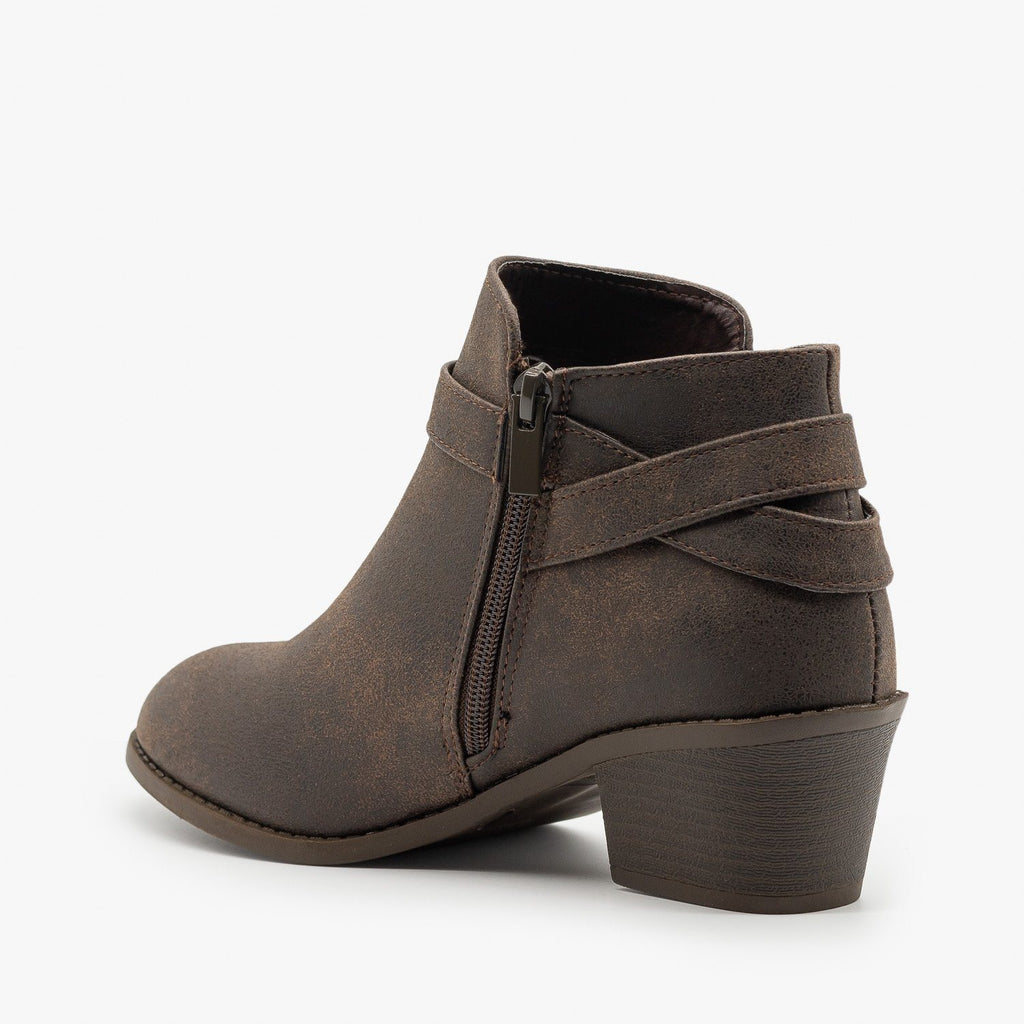 Womens Edgy Belted Ankle Booties - Forever