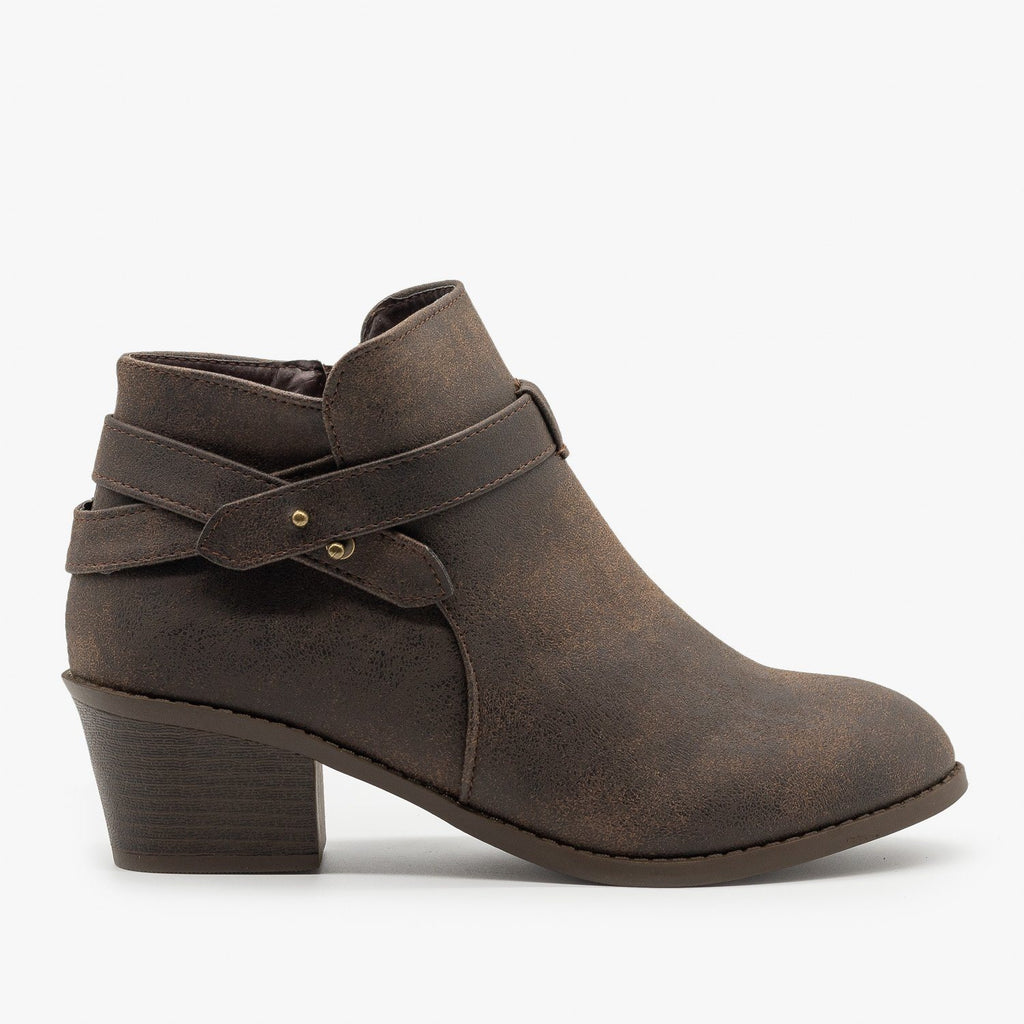Womens Edgy Belted Ankle Booties - Forever - Brown / 5