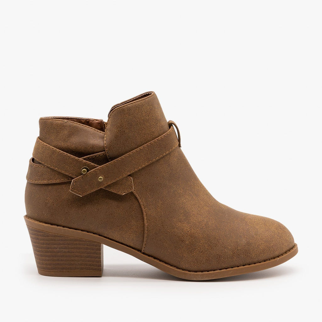 Womens Edgy Belted Ankle Booties - Forever - Tan / 5