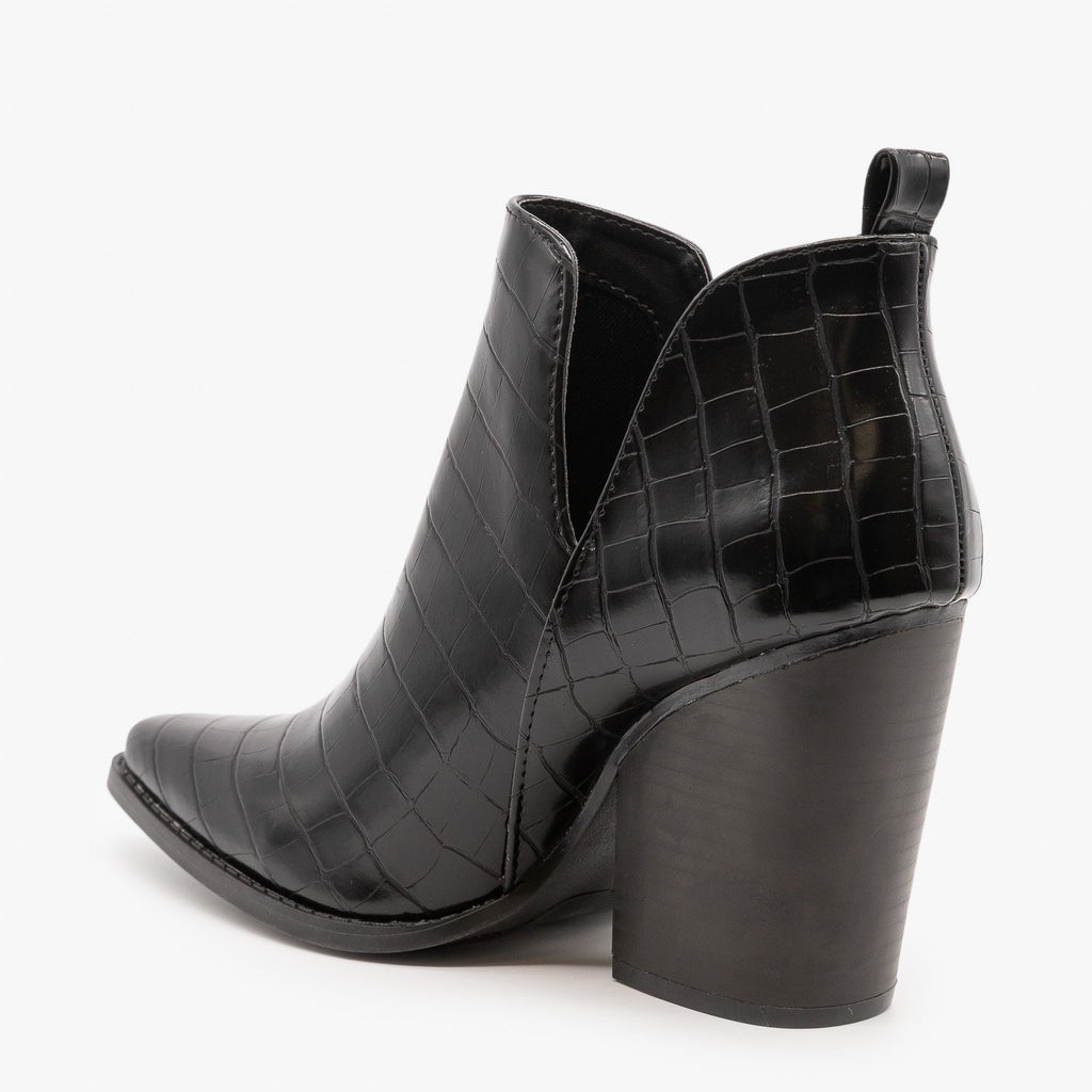 Womens Edgy Black Crocodile Print Booties - Qupid Shoes