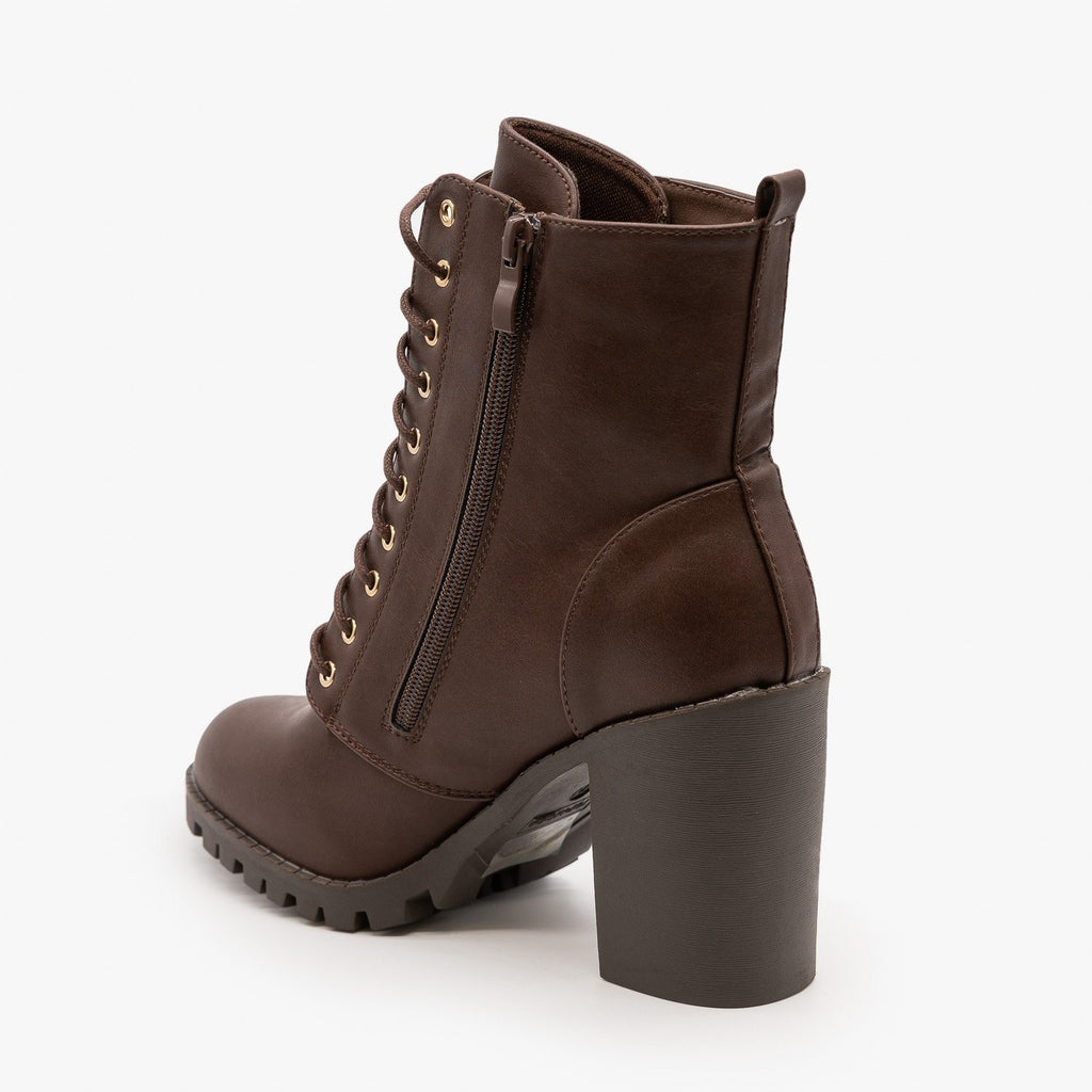 Womens Edgy Block Heel Combat Boots - Top Moda
