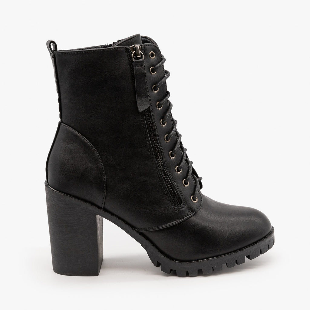 Womens Edgy Block Heel Combat Boots - Top Moda - Black / 5