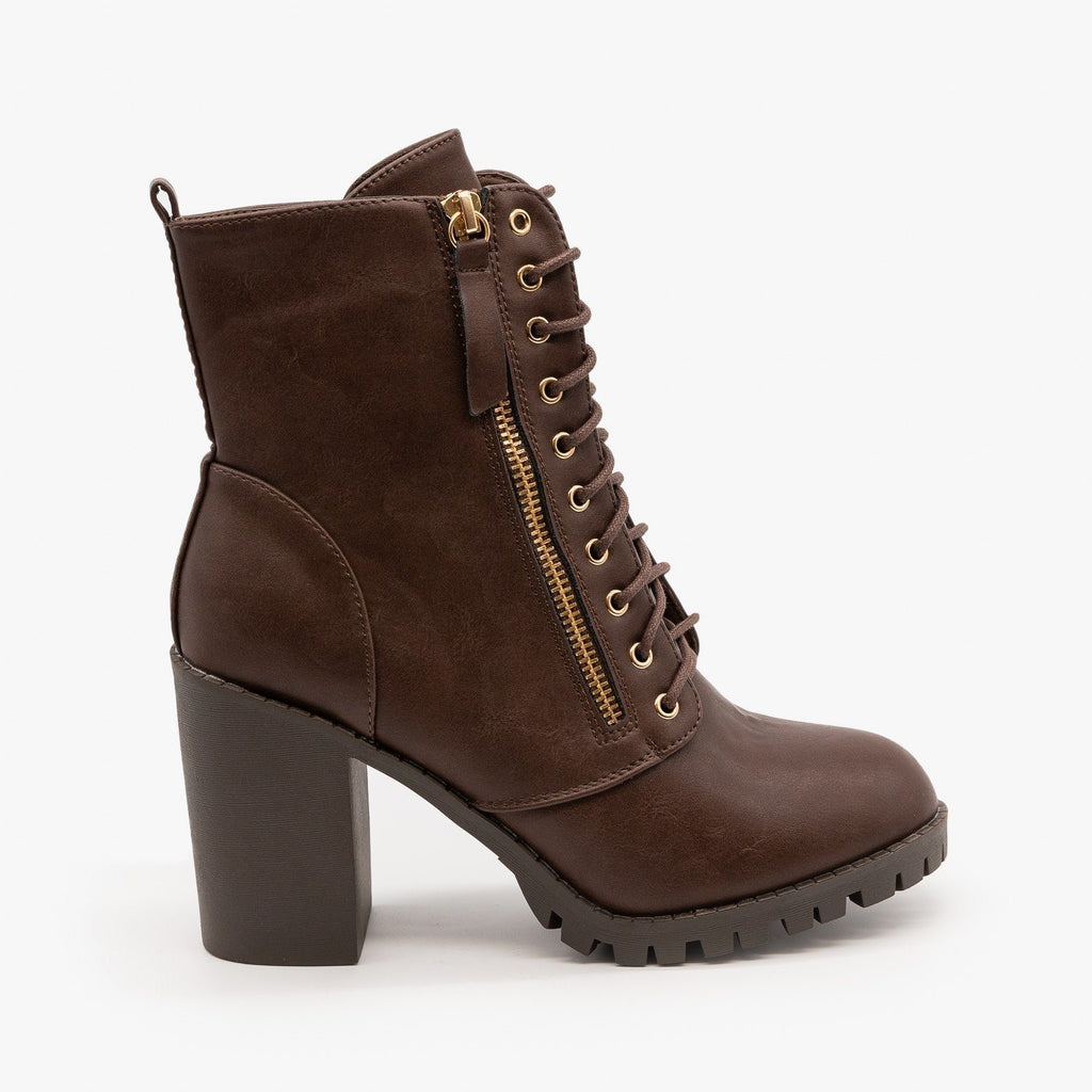 Womens Edgy Block Heel Combat Boots - Top Moda - Brown / 5