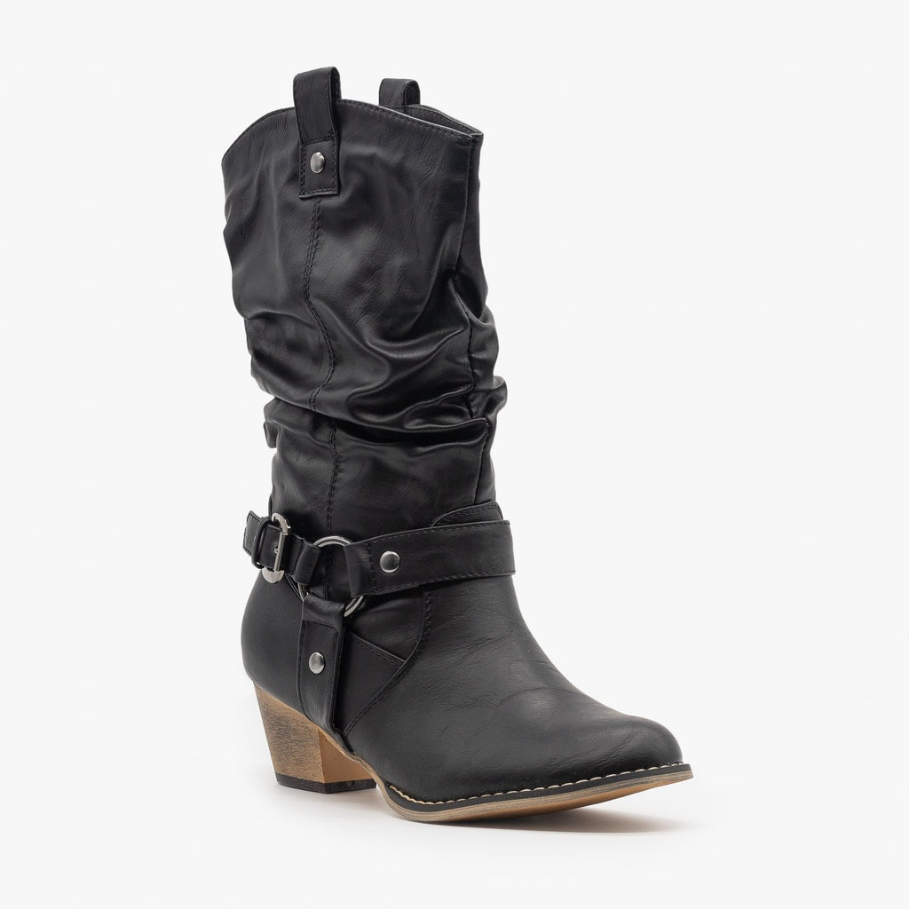 Womens Edgy Block Heel Cowboy Boots - Refresh