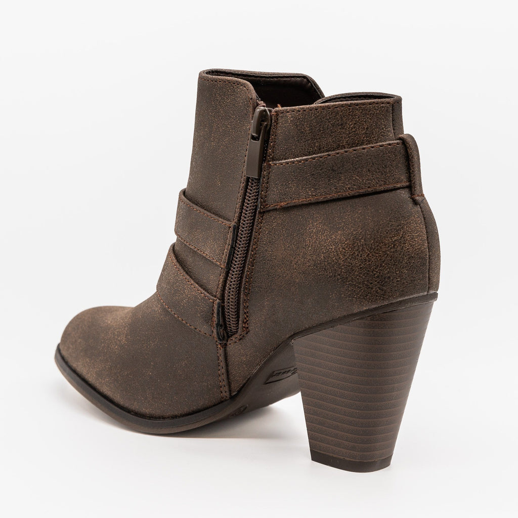 Womens Edgy Buckled Almond-Toe Booties - Forever