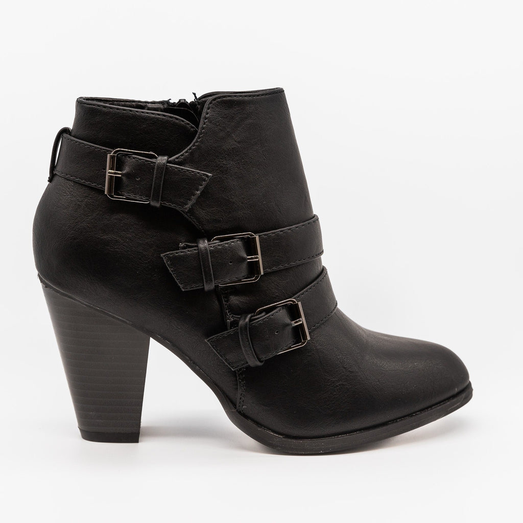 Womens Edgy Buckled Almond-Toe Booties - Forever - Black / 5