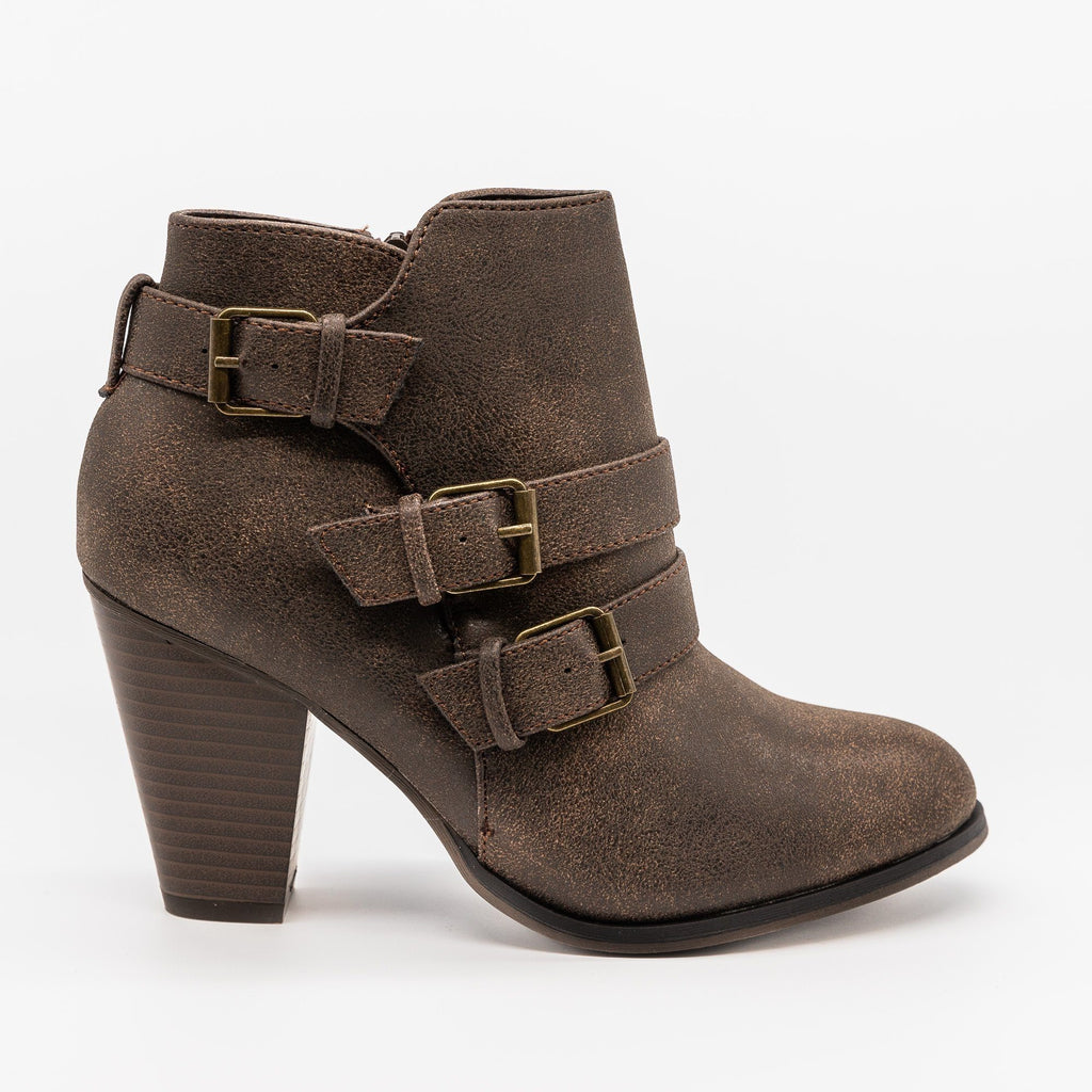 Womens Edgy Buckled Almond-Toe Booties - Forever - Brown / 5