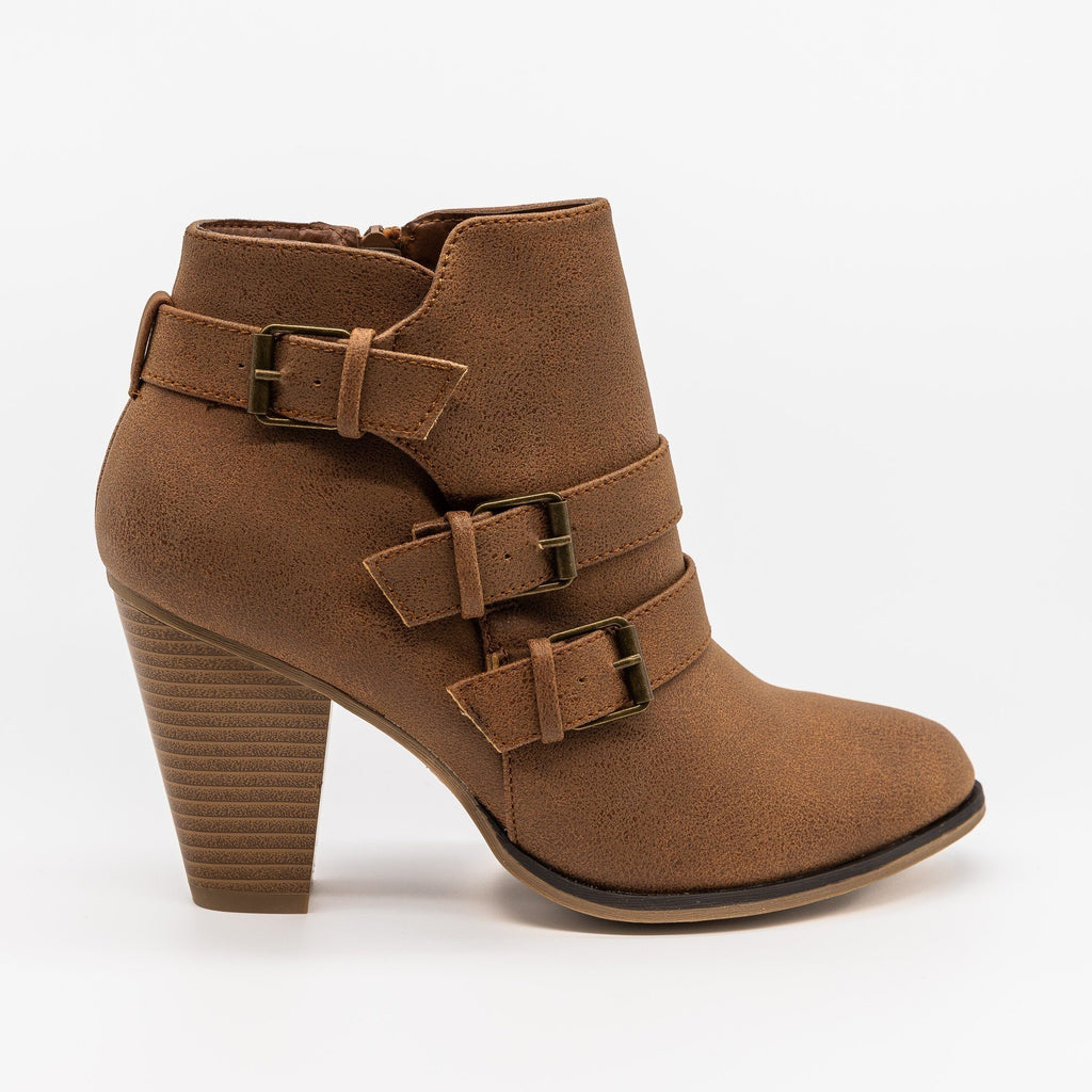 Womens Edgy Buckled Almond-Toe Booties - Forever - Tan / 5