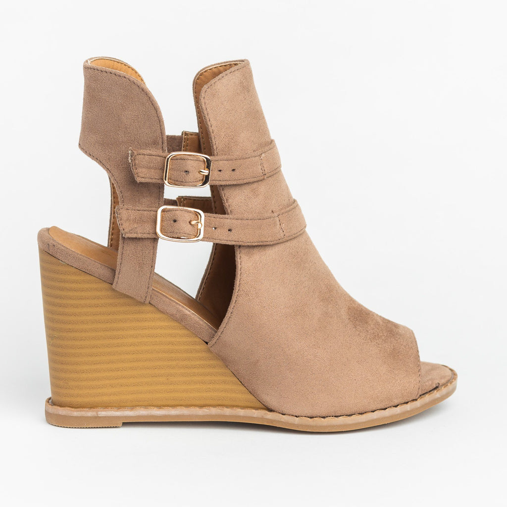 Womens Edgy Buckled Peep-Toe Wedges - Qupid Shoes - Taupe / 5