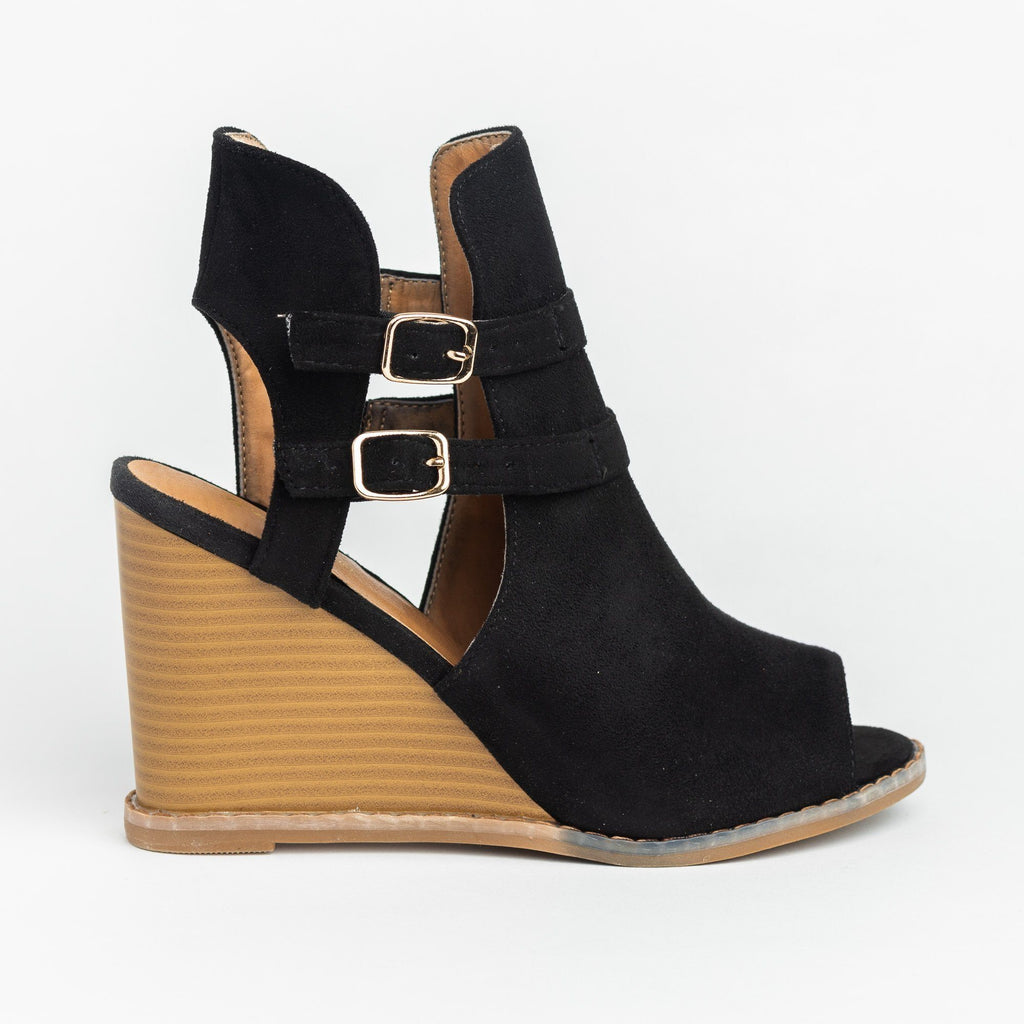 Womens Edgy Buckled Peep-Toe Wedges - Qupid Shoes - Black / 5