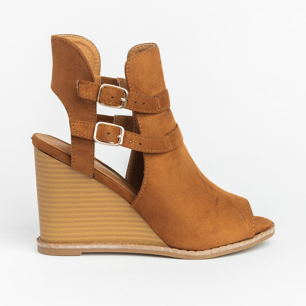 Womens Edgy Buckled Peep-Toe Wedges - Qupid Shoes - Camel / 5
