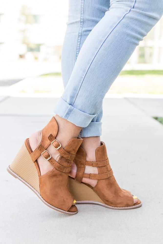 Womens Edgy Buckled Peep-Toe Wedges - Qupid Shoes