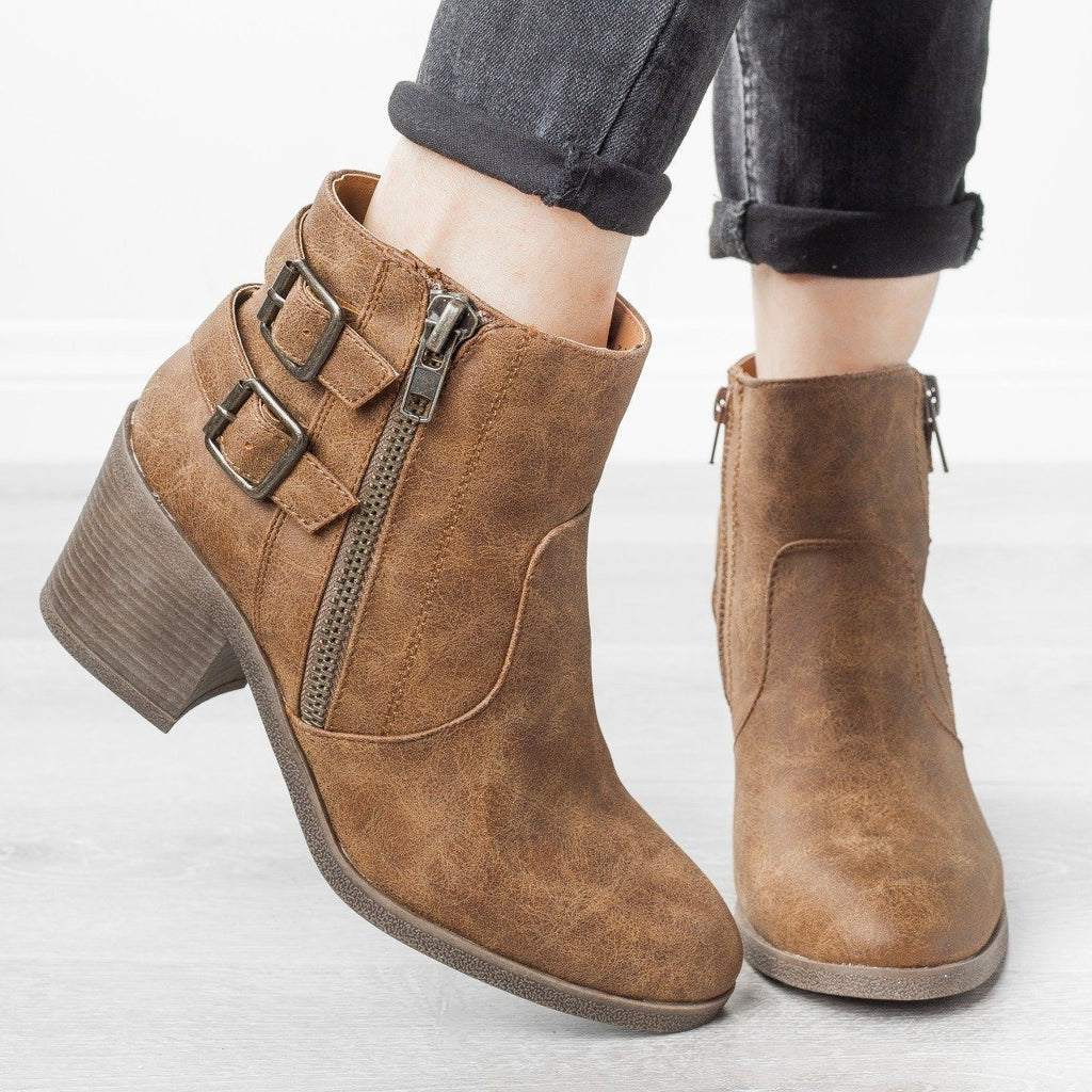 Womens Edgy Distressed Buckle Booties - Bamboo Shoes - Camel / 5