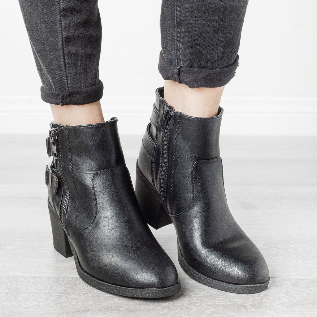 Womens Edgy Distressed Buckle Booties - Bamboo Shoes - Black / 5