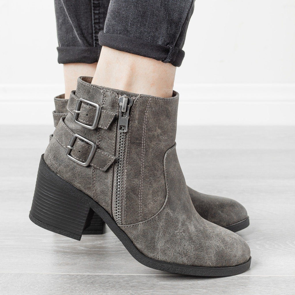 Womens Edgy Distressed Buckle Booties - Bamboo Shoes - Gray / 5