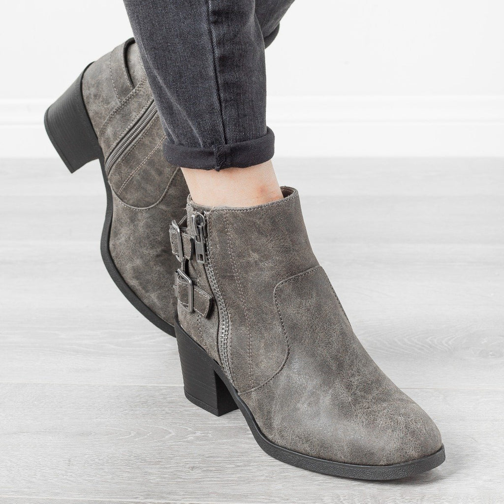 Womens Edgy Distressed Buckle Booties - Bamboo Shoes