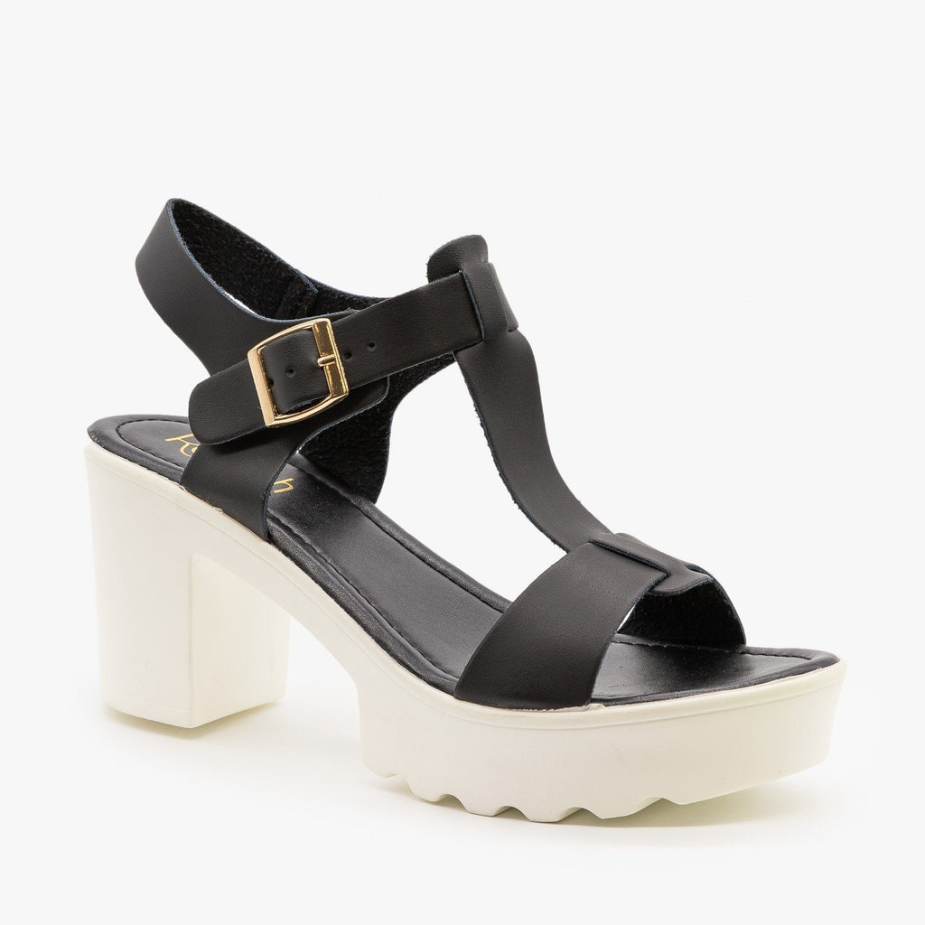 Womens Edgy Diva T-Strap High Heels - Refresh - Black / 5
