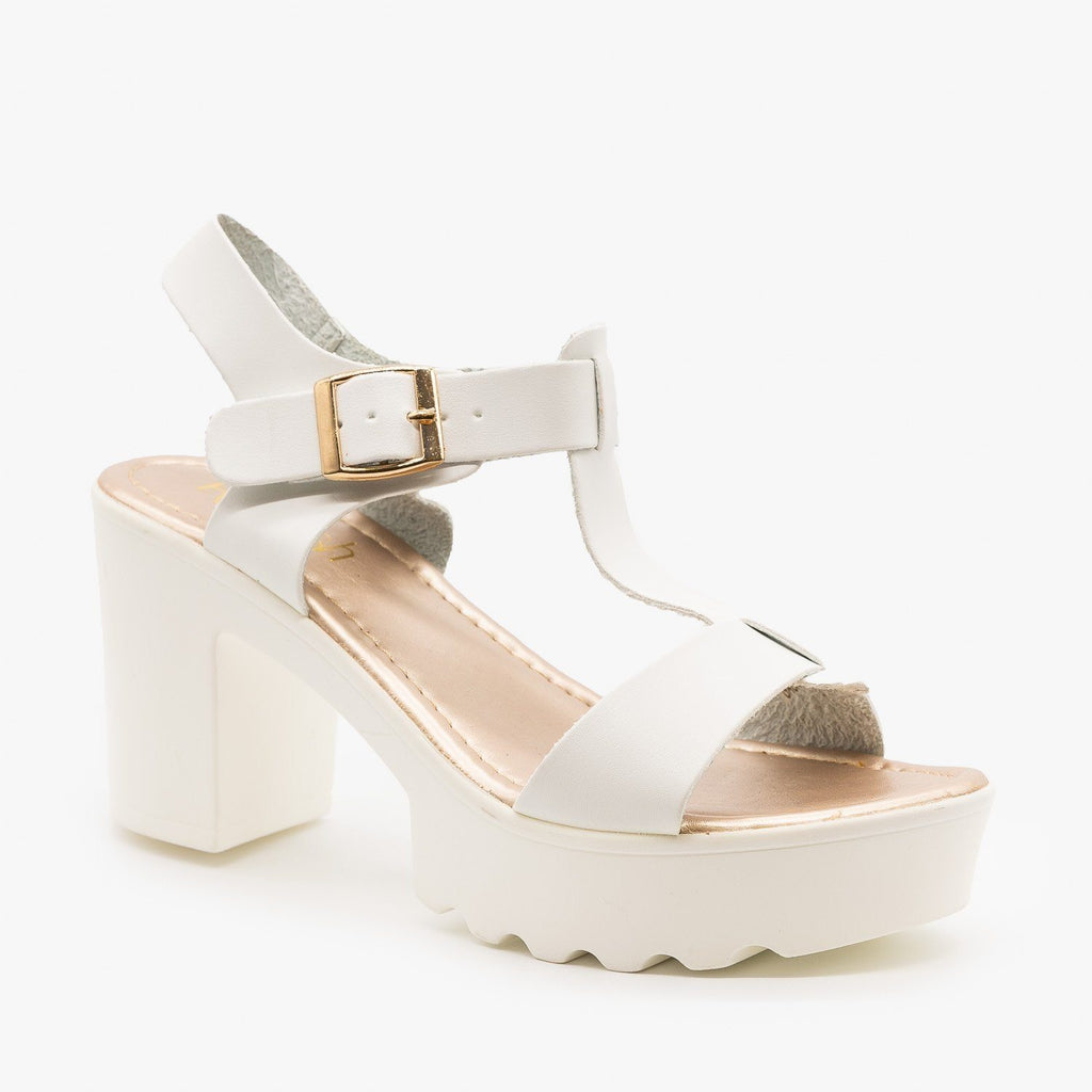 Womens Edgy Diva T-Strap High Heels - Refresh - White / 5