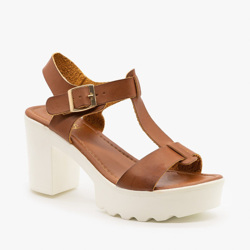 Womens Edgy Diva T-Strap High Heels - Refresh - Tan / 5