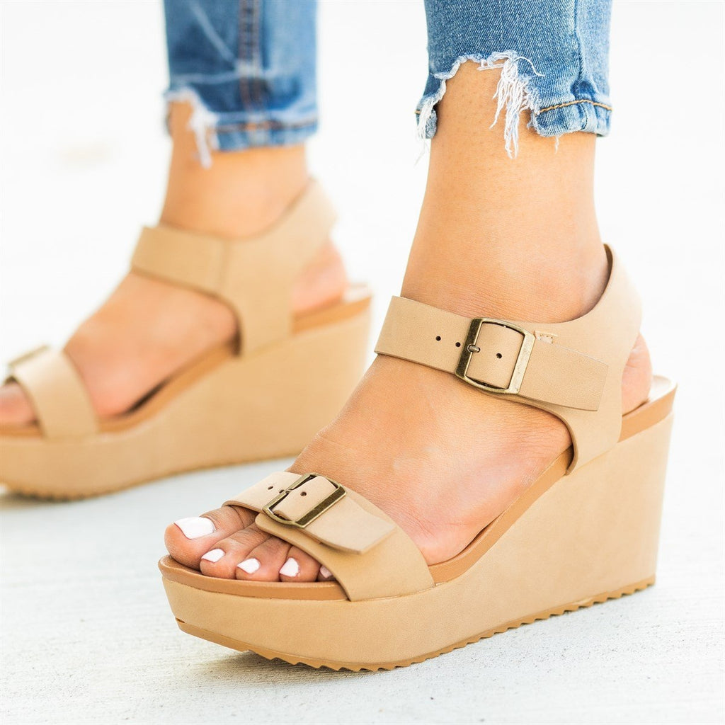Womens Edgy Double Buckle Wedges - Bamboo Shoes - Natural / 5