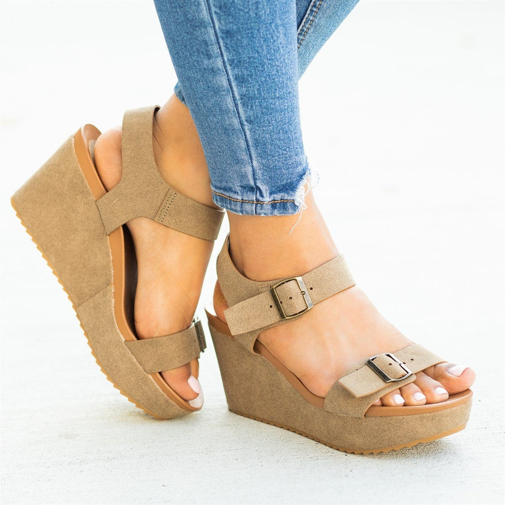 Womens Edgy Double Buckle Wedges - Bamboo Shoes - Taupe / 5