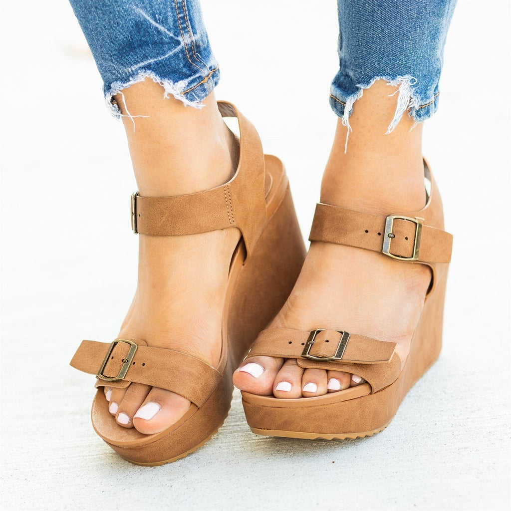 Womens Edgy Double Buckle Wedges - Bamboo Shoes - Tan / 5