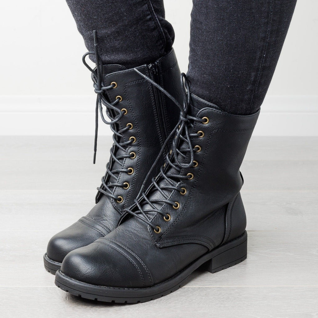 Womens Edgy Essential Combat Boots - Wild Diva Shoes