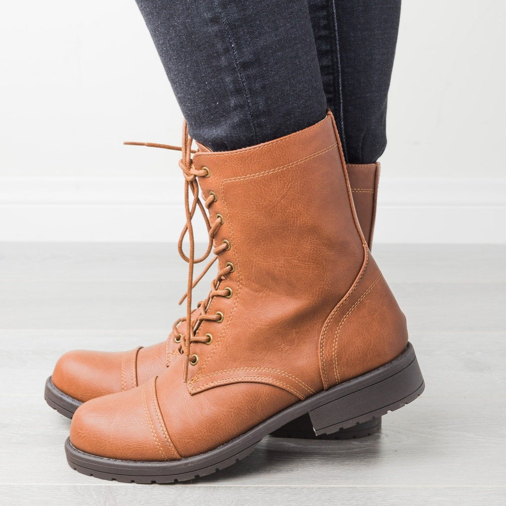 Womens Edgy Essential Combat Boots - Wild Diva Shoes - Cognac / 5